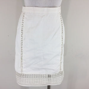 J Crew Ivory Pencil Skirt Ric Rac Cotton S 4